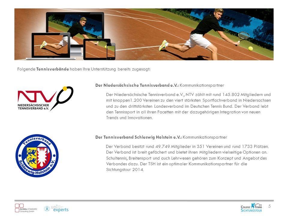 Folgende Tennisverbände haben Ihre Unterstützung bereits zugesagt: 5 Der Niedersächsische Tennisverband e.V.: Kommunikationspartner Der Niedersächsische Tennisverband e.V., NTV zählt mit rund 145.802 Mitgliedern und mit knappen1.200 Vereinen zu den viert stärksten Sportfachverband in Niedersachsen und zu den drittstärksten Landesverband im Deutschen Tennis Bund.
