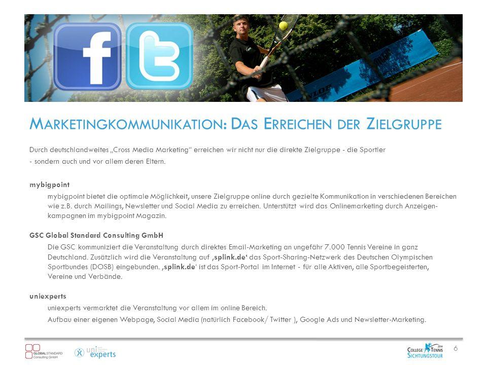 M ARKETINGKOMMUNIKATION : D AS E RREICHEN DER Z IELGRUPPE Durch deutschlandweites Cross Media Marketing erreichen wir nicht nur die direkte Zielgruppe - die Sportler - sondern auch und vor allem deren Eltern.