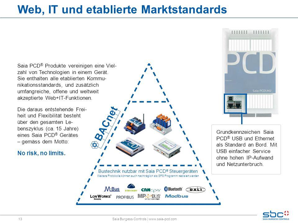 13 Web, IT und etablierte Marktstandards Saia Burgess Controls | www.saia-pcd.com Saia PCD ® Produkte vereinigen eine Viel- zahl von Technologien in einem Gerät.