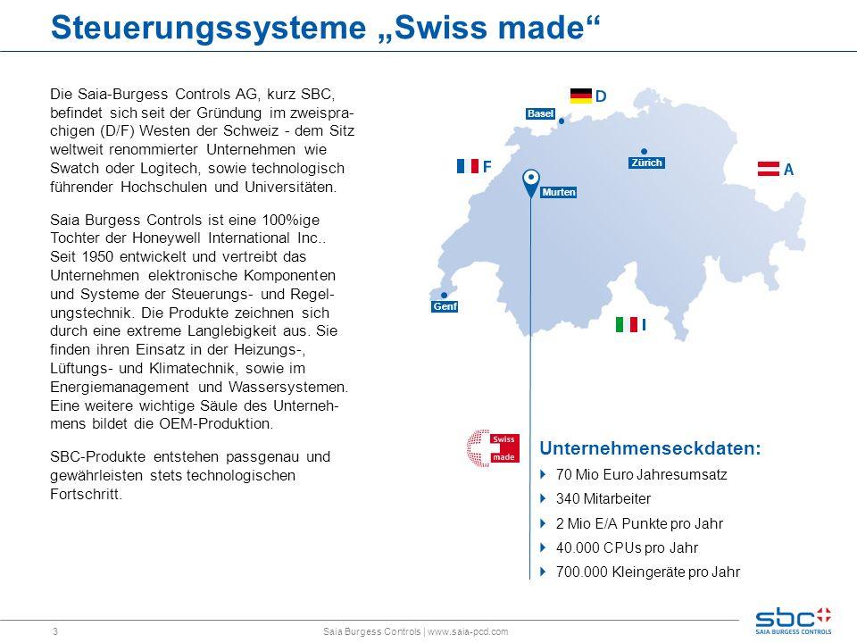 3 Basel Genf Zürich Murten Steuerungssysteme Swiss made Unternehmenseckdaten: 70 Mio Euro Jahresumsatz 340 Mitarbeiter 2 Mio E/A Punkte pro Jahr 40.00
