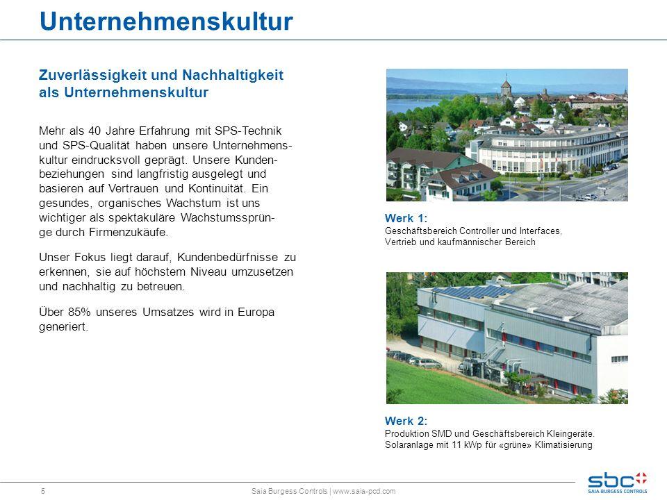 6 Alles im eigenen Haus Von der Angebotsphase bis weit über die Produktion hinaus: Saia Burgess Controls   www.saia-pcd.com Ziel ist eine hohe Autonomie und Effizienz für unsere Kunden Produktsupport- und Trainings- centers in jedem Vertriebsstützpunkt Praxisnahe Aus- bildung und Train- ingseinrichtungen im Werk in der Schweiz 75.000 Bestell- positionen 12.000 Pakete lagergeführte Verkaufsartikel Liefertreue: >96 % Lieferzeit: 80 % der Positionen inner- halb 48 Stunden Produktion und Montage basieren auf «Lean»-Prinzip Direkte Endfertigung in Zellen nach SMD Linie, ohne Zwischen- lager Aus einem maschinen- bestückten Board wird ein versandfertiges Produkt, inklusive Verpackung und Dokumentation 560 Feederplätze auf zwei modernen SMD-Linien im Werk in Murten (Schweiz) Effektive Bestückungs- kapazität von 80.000 Bauteilen pro Stunde Selektivlötmaschine für die Verarbeitung enger kritischer Boards ICT, AOI und Boundary Scan als Testmittel Inhouse entwickelte Software, Firm- und Hardware Garantierter Produkt- lebenszyklus und Kompatibilität von über 15 Jahren Schnelle und sichere Produktion kunden- spezifischer Aufträge Produktentwicklung & -pflege Produktion Baugruppe MontageLogistik Kennwerte Training & Support