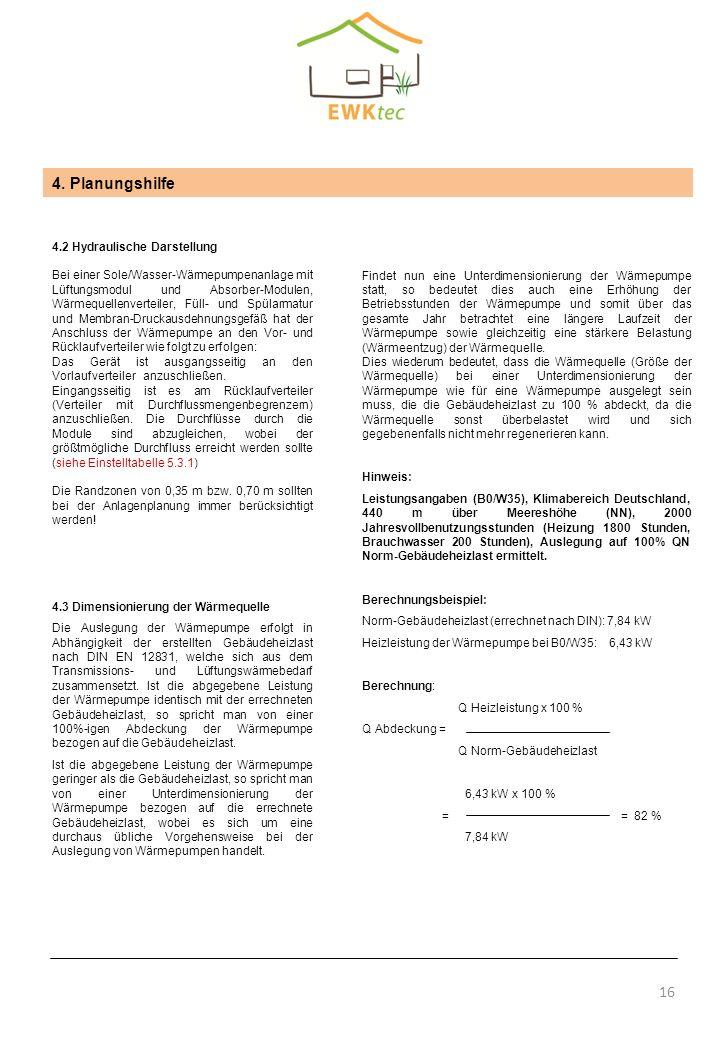 16 4. Planungshilfe 4.2 Hydraulische Darstellung Bei einer Sole/Wasser-Wärmepumpenanlage mit Lüftungsmodul und Absorber-Modulen, Wärmequellenverteiler