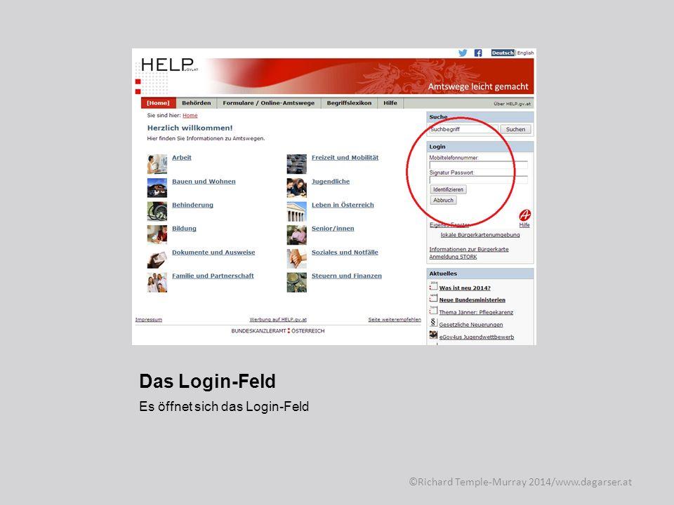 Das Login-Feld Dort gibt man seine Handy-Telefonnummer und sein Kennwort für die Handysignatur ein, anschließend klickt man auf Identifizieren ©Richard Temple-Murray 2014/www.dagarser.at