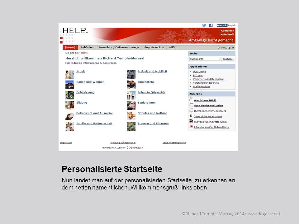 Personalisierte Startseite Um zum Zentralen Waffenregister zu gelangen klickt man auf Leben in Österreich, ©Richard Temple-Murray 2014/www.dagarser.at