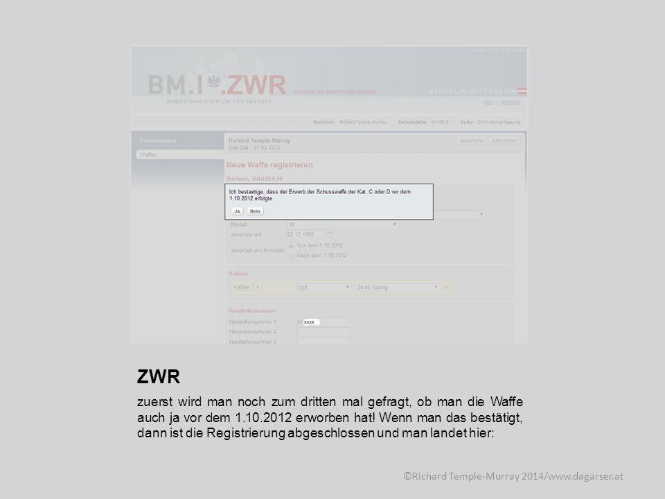 ZWR Bei der Bestätigung, samt Registrierungsnummer ©Richard Temple-Murray 2014/www.dagarser.at