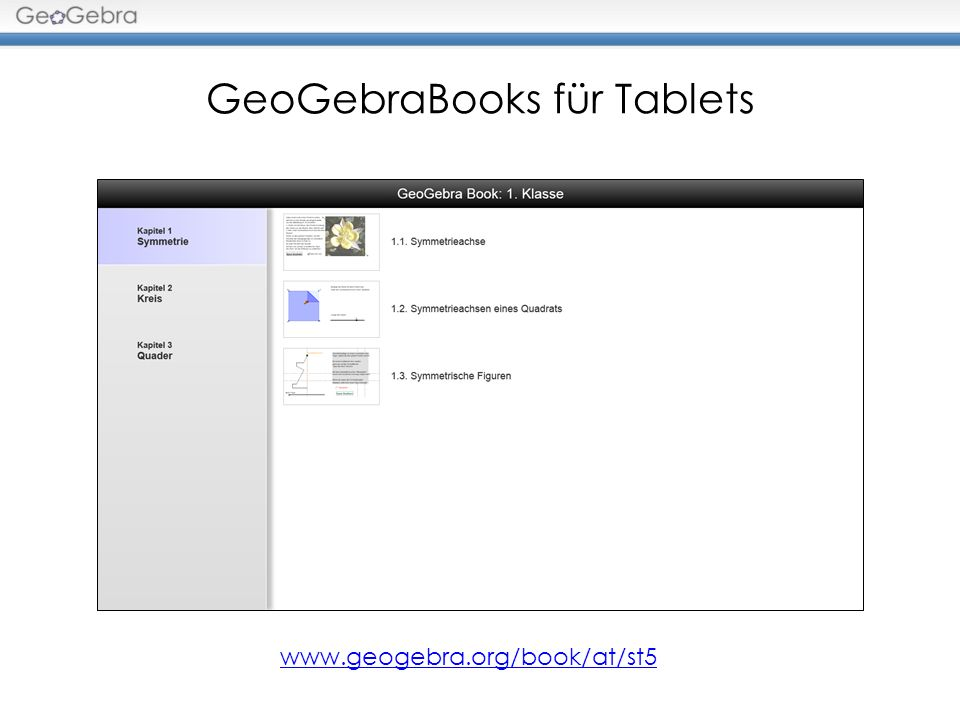 GeoGebraBooks für Tablets www.geogebra.org/book/at/st5