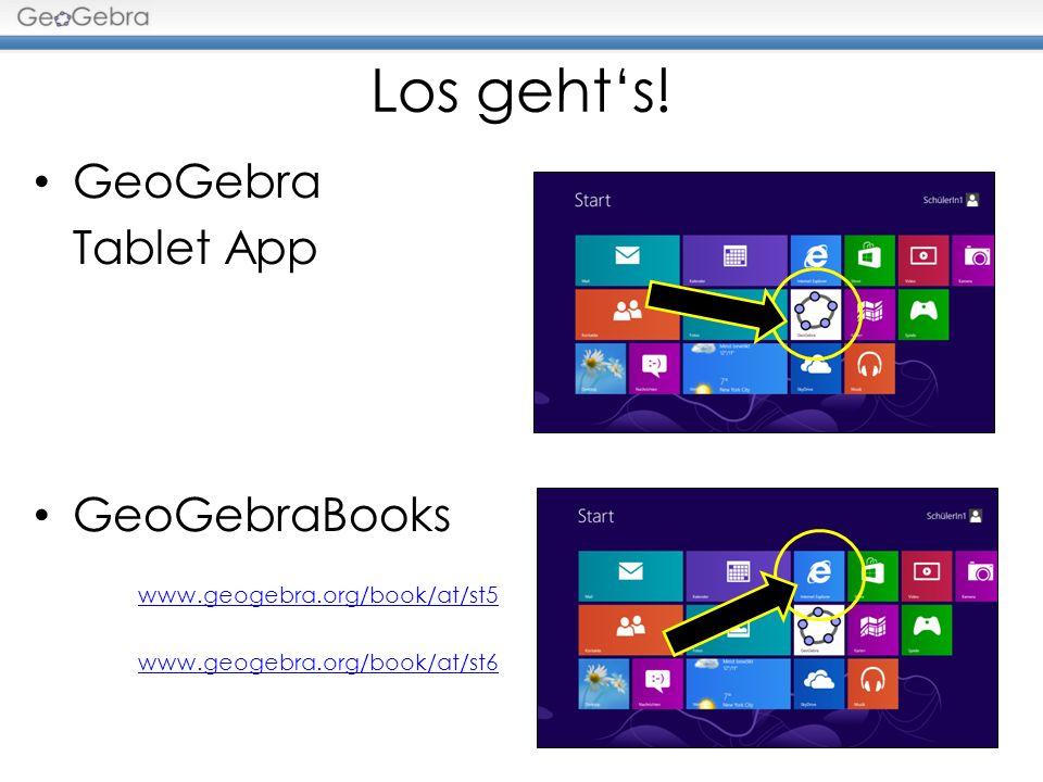Los gehts! GeoGebra Tablet App GeoGebraBooks www.geogebra.org/book/at/st5 www.geogebra.org/book/at/st6