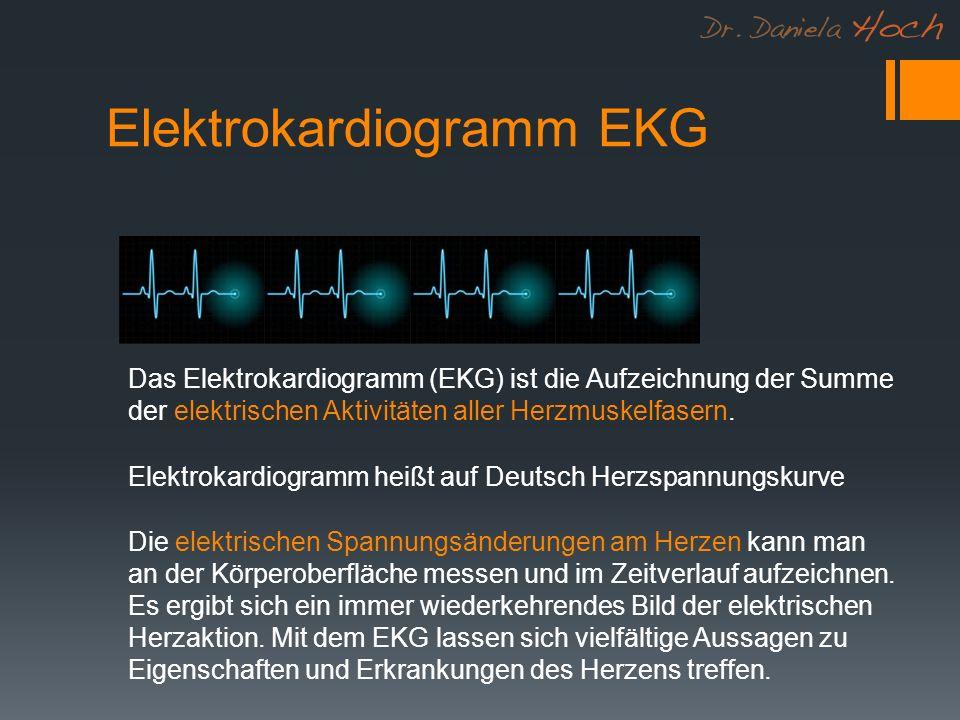Elektrokardiogramm EKG Das Elektrokardiogramm (EKG) ist die Aufzeichnung der Summe der elektrischen Aktivitäten aller Herzmuskelfasern.
