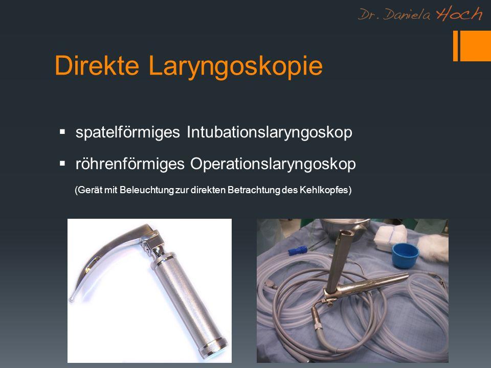 Direkte Laryngoskopie spatelförmiges Intubationslaryngoskop röhrenförmiges Operationslaryngoskop (Gerät mit Beleuchtung zur direkten Betrachtung des Kehlkopfes)