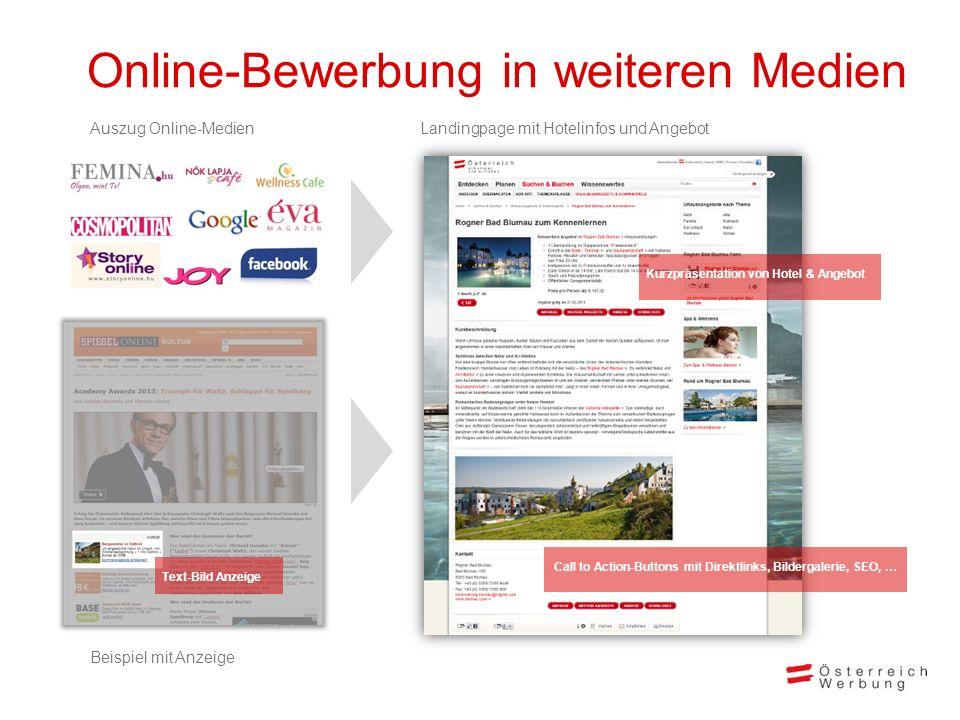 Online-Bewerbung in weiteren Medien Landingpage mit Hotelinfos und AngebotAuszug Online-Medien Beispiel mit Anzeige Call to Action-Buttons mit Direktl