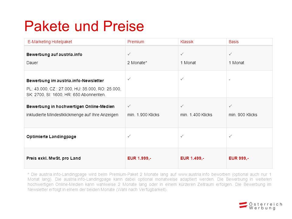 Pakete und Preise E-Marketing HotelpaketPremiumKlassikBasis Bewerbung auf austria.info Dauer 2 Monate* 1 Monat 1 Monat Bewerbung im austria.info-Newsl
