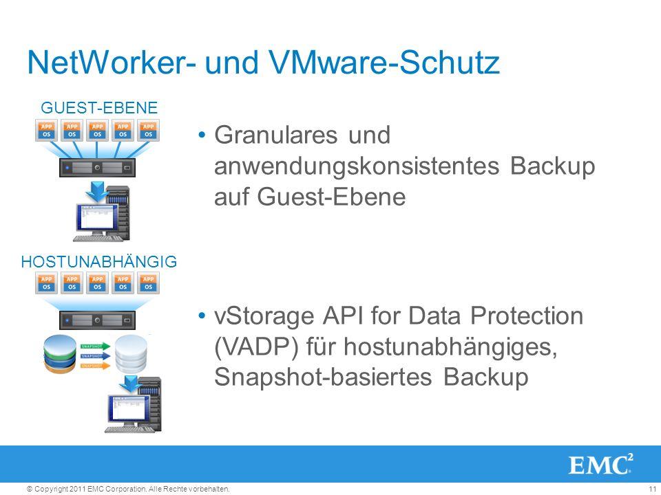 11© Copyright 2011 EMC Corporation. Alle Rechte vorbehalten. NetWorker- und VMware-Schutz Granulares und anwendungskonsistentes Backup auf Guest-Ebene