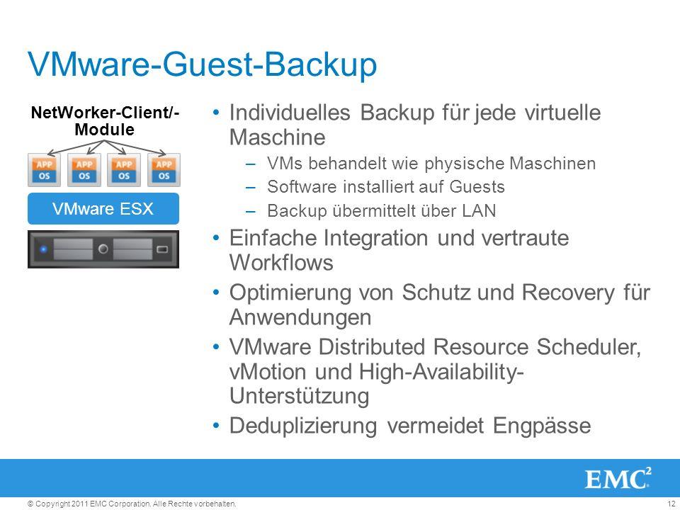 12© Copyright 2011 EMC Corporation. Alle Rechte vorbehalten. VMware-Guest-Backup Individuelles Backup für jede virtuelle Maschine –VMs behandelt wie p