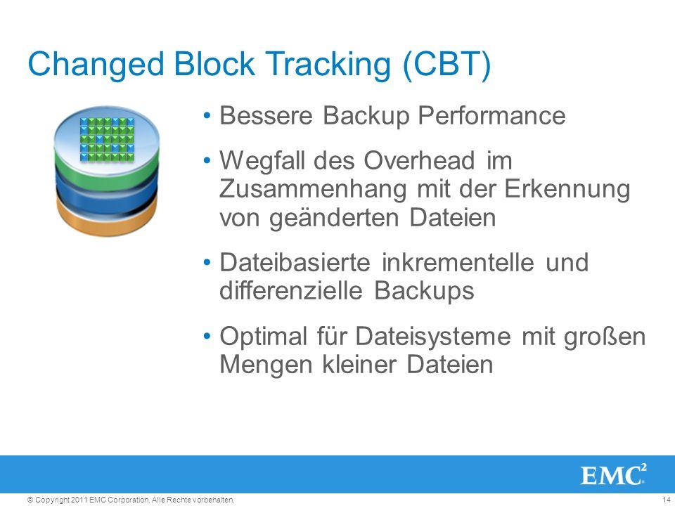 14© Copyright 2011 EMC Corporation. Alle Rechte vorbehalten. Changed Block Tracking (CBT) Bessere Backup Performance Wegfall des Overhead im Zusammenh