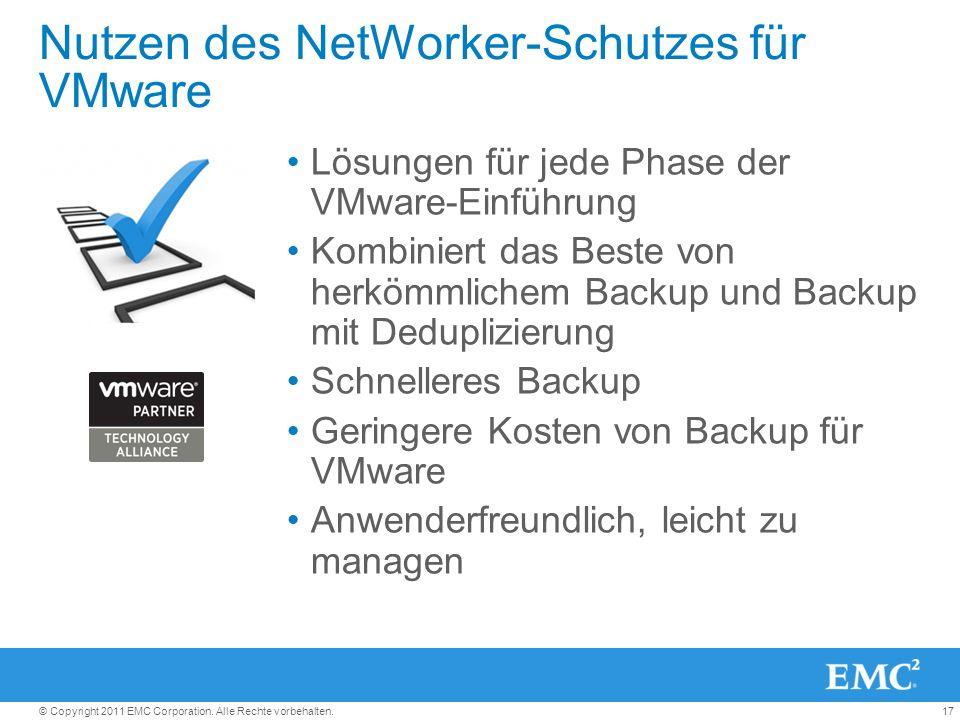 17© Copyright 2011 EMC Corporation. Alle Rechte vorbehalten. Nutzen des NetWorker-Schutzes für VMware Lösungen für jede Phase der VMware-Einführung Ko