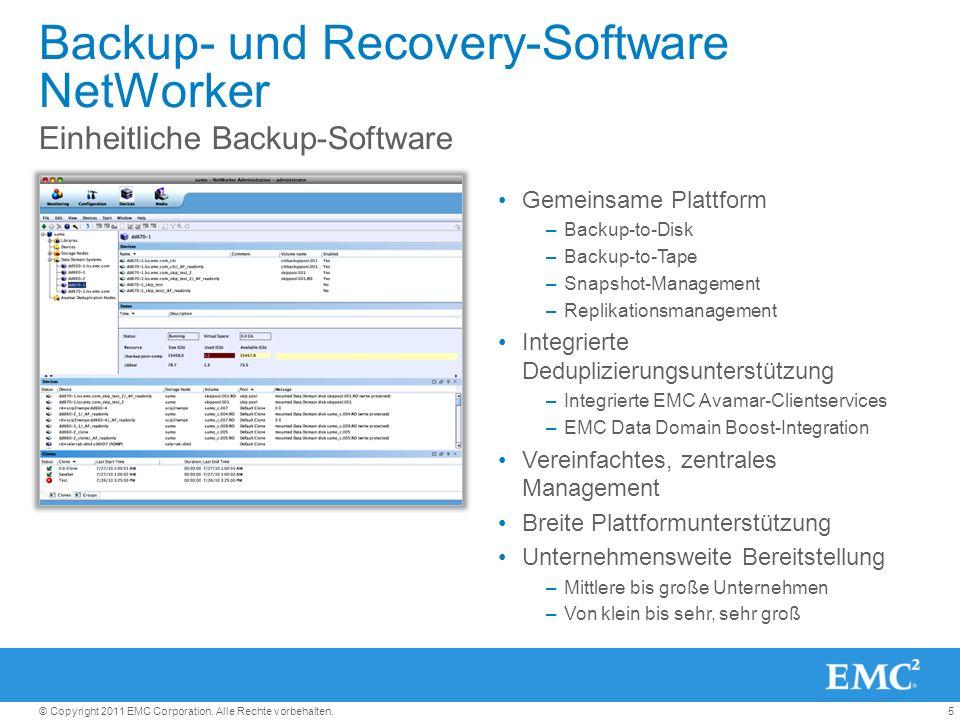 5© Copyright 2011 EMC Corporation. Alle Rechte vorbehalten. Backup- und Recovery-Software NetWorker Gemeinsame Plattform –Backup-to-Disk –Backup-to-Ta