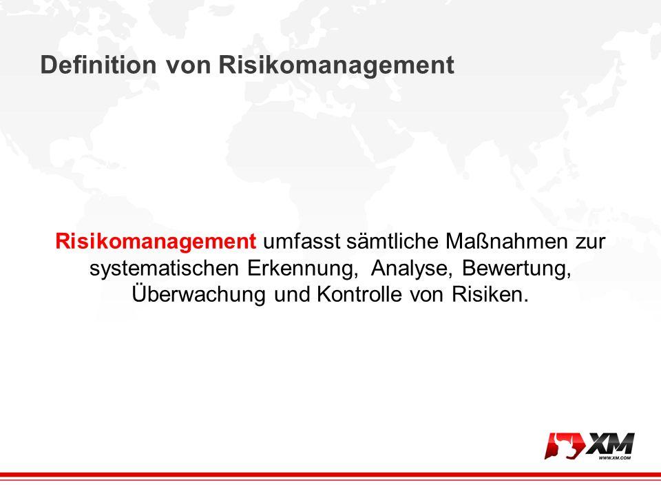 Definition von Risikomanagement Risikomanagement umfasst sämtliche Maßnahmen zur systematischen Erkennung, Analyse, Bewertung, Überwachung und Kontrolle von Risiken.