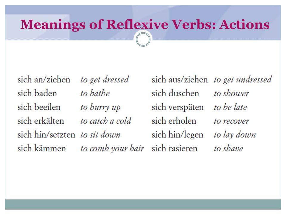 Meanings of Reflexive Verbs: Common verbs sich ärgento get angry sich befindento be located, find oneself (somewhere); to feel sich bemühenTo make an effort sich benehmenTo behave sich beschäftigen mitTo work on; be concerned with sich bewegenTo move sich drehen umTo be a matter of; revolve around sich entscheidenTo decide, make up ones mind