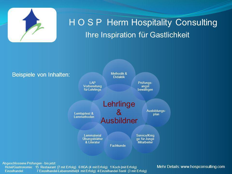 H O S P Herm Hospitality Consulting Ihre Inspiration für Gastlichkeit Lehrlinge & Ausbildner Methodik & Didaktik Prüfungs- angst bewältigen Ausbildung