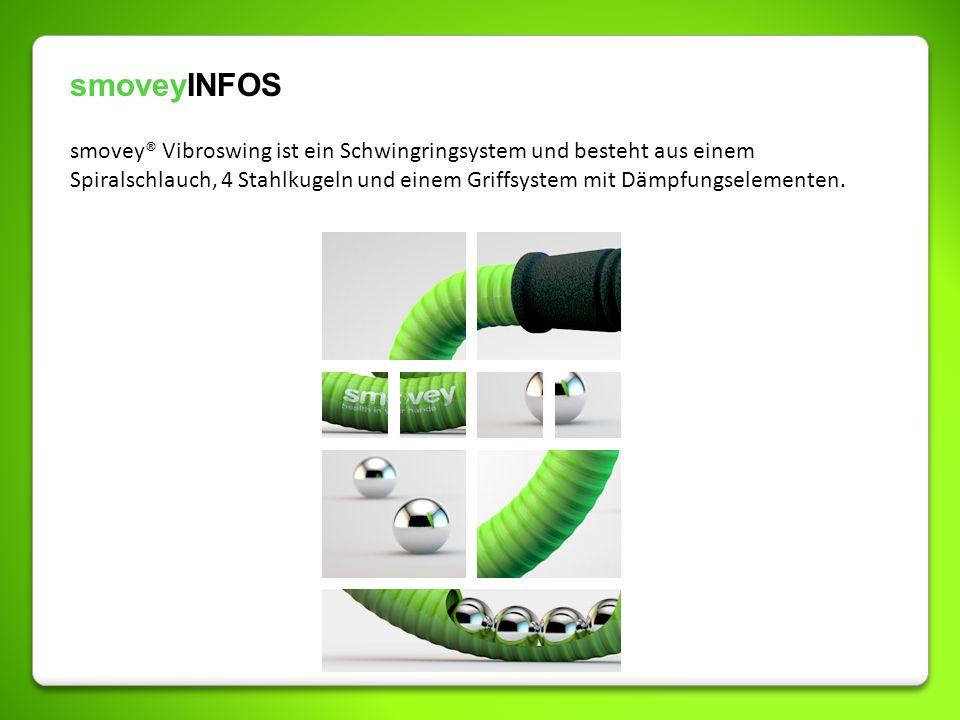 smoveyINFOS smovey® Vibroswing ist ein Schwingringsystem und besteht aus einem Spiralschlauch, 4 Stahlkugeln und einem Griffsystem mit Dämpfungselemen
