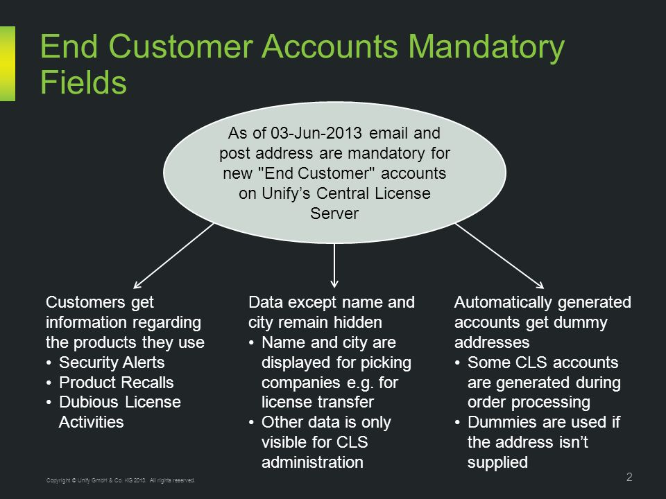 As of 03-Jun-2013 email and post address are mandatory for new End Customer accounts on Unifys Central License Server End Customer Accounts Mandatory Fields Customers get information regarding the products they use Security Alerts Product Recalls Dubious License Activities Automatically generated accounts get dummy addresses Some CLS accounts are generated during order processing Dummies are used if the address isnt supplied Data except name and city remain hidden Name and city are displayed for picking companies e.g.