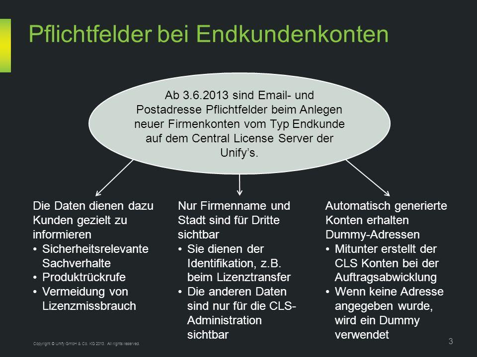 Ab 3.6.2013 sind Email- und Postadresse Pflichtfelder beim Anlegen neuer Firmenkonten vom Typ Endkunde auf dem Central License Server der Unifys.