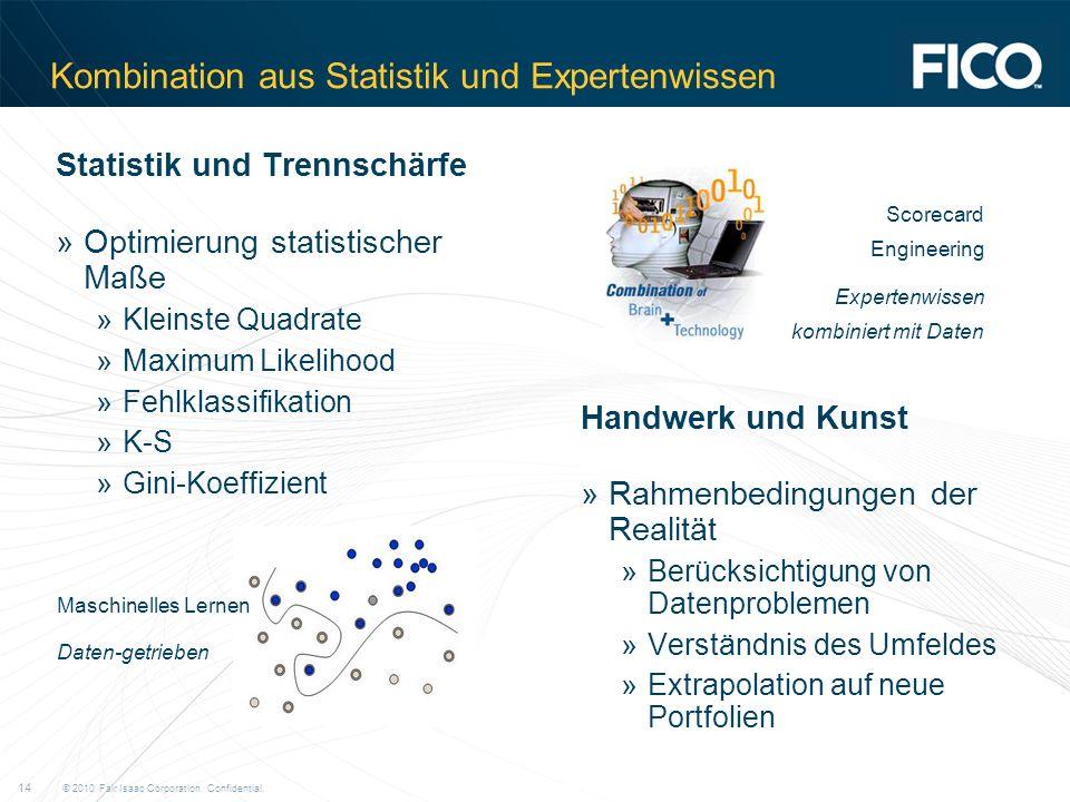 © 2010 Fair Isaac Corporation. Confidential. 14 Kombination aus Statistik und Expertenwissen Statistik und Trennschärfe »Optimierung statistischer Maß