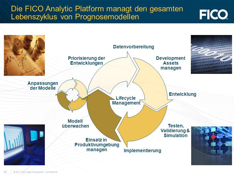 © 2010 Fair Isaac Corporation. Confidential. 20 Die FICO Analytic Platform managt den gesamten Lebenszyklus von Prognosemodellen Datenvorbereitung Dev