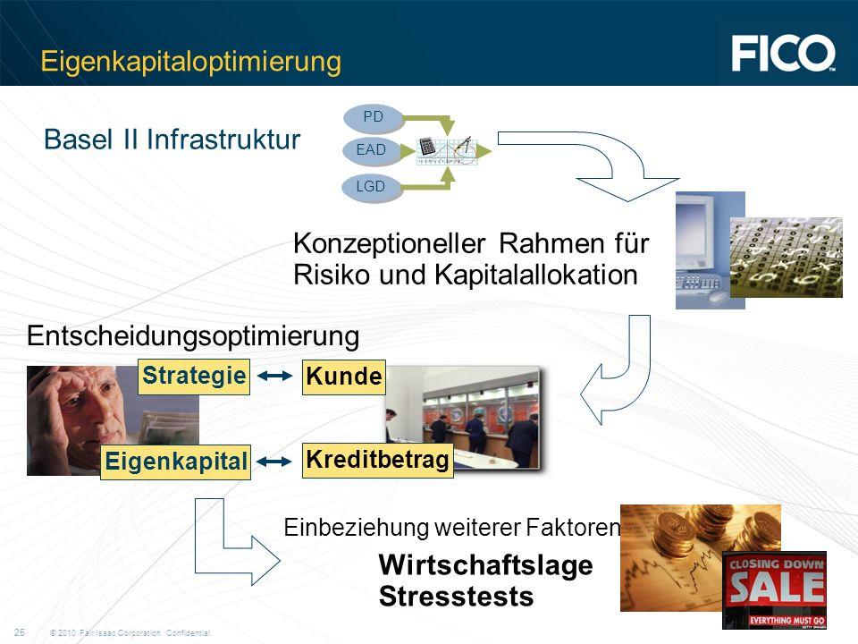 © 2010 Fair Isaac Corporation. Confidential. 25 Eigenkapitaloptimierung Basel II Infrastruktur EAD PD LGD Konzeptioneller Rahmen für Risiko und Kapita
