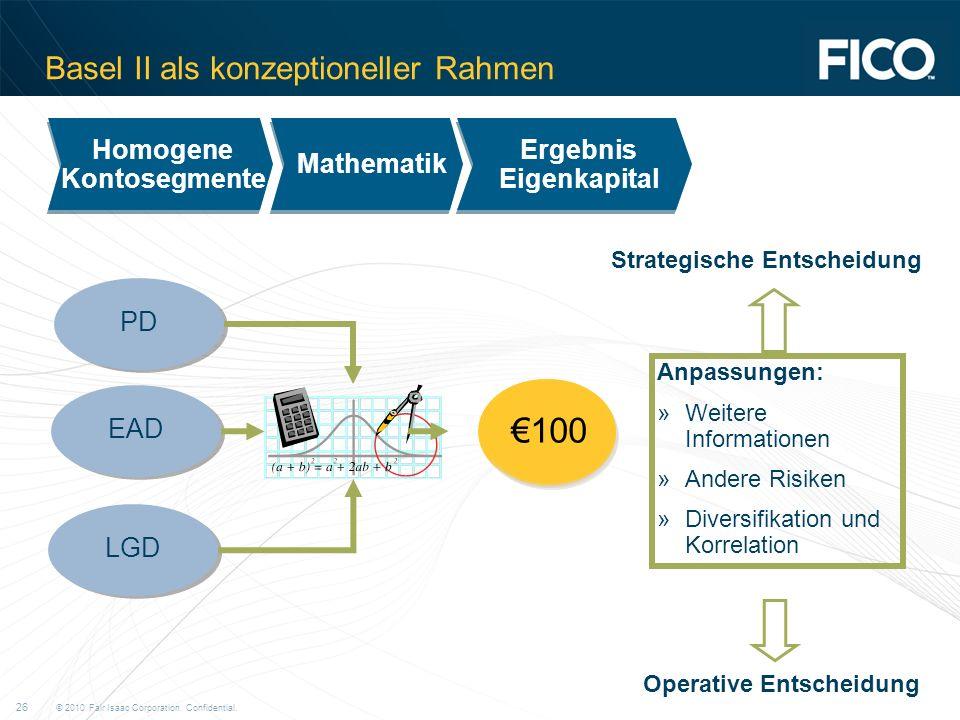 © 2010 Fair Isaac Corporation. Confidential. 26 Basel II als konzeptioneller Rahmen 50 200 Ergebnis Eigenkapital Mathematik Homogene Kontosegmente Hom