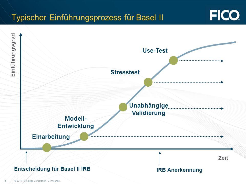 © 2010 Fair Isaac Corporation. Confidential. 5 Typischer Einführungsprozess für Basel II Einarbeitung Modell- Entwicklung Entscheidung für Basel II IR