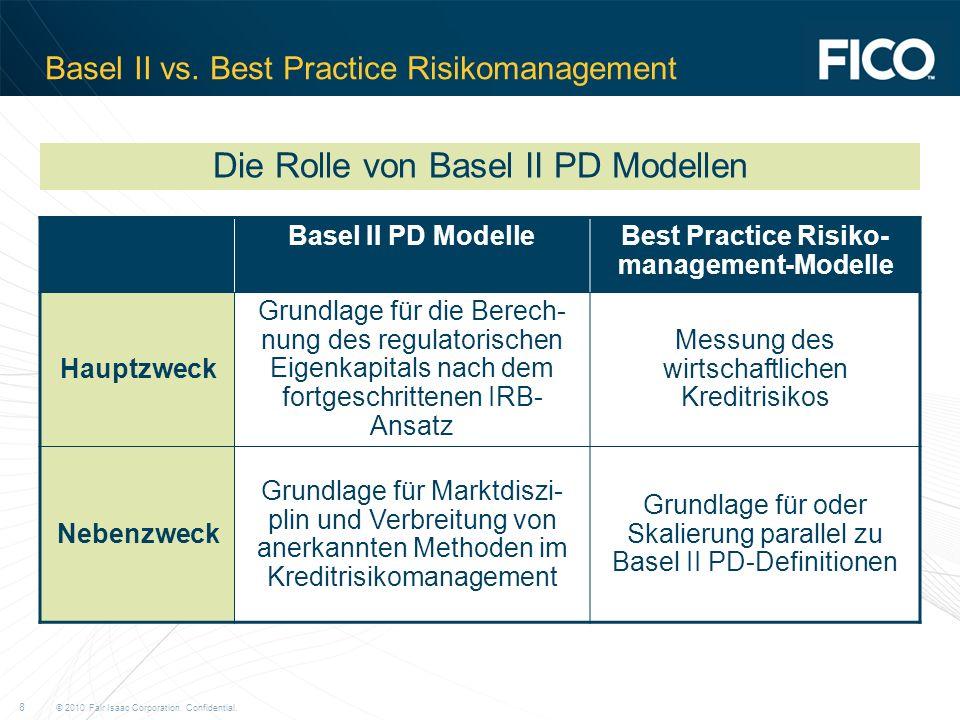 © 2010 Fair Isaac Corporation. Confidential. 8 Basel II vs. Best Practice Risikomanagement Basel II PD ModelleBest Practice Risiko- management-Modelle