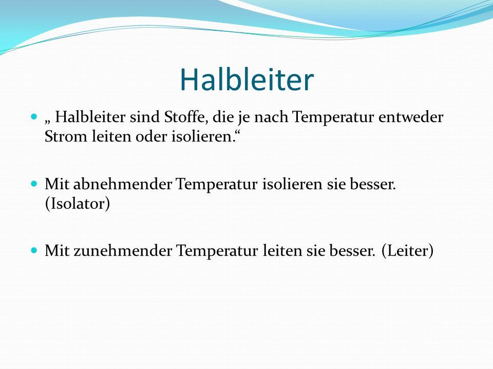 Halbleiter Halbleiter sind Stoffe, die je nach Temperatur entweder Strom leiten oder isolieren. Mit abnehmender Temperatur isolieren sie besser. (Isol
