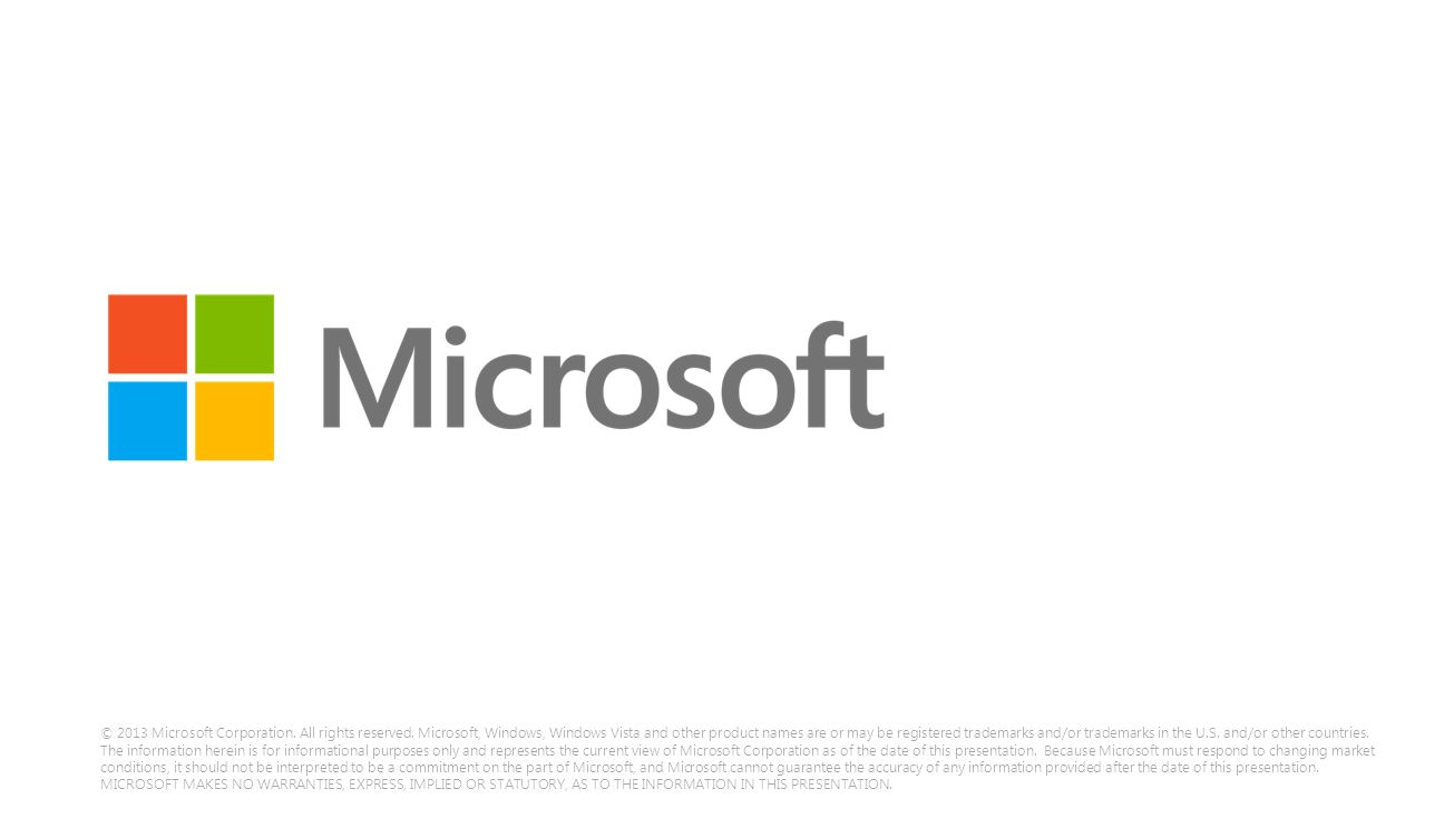 © 2013 Microsoft Corporation.All rights reserved.