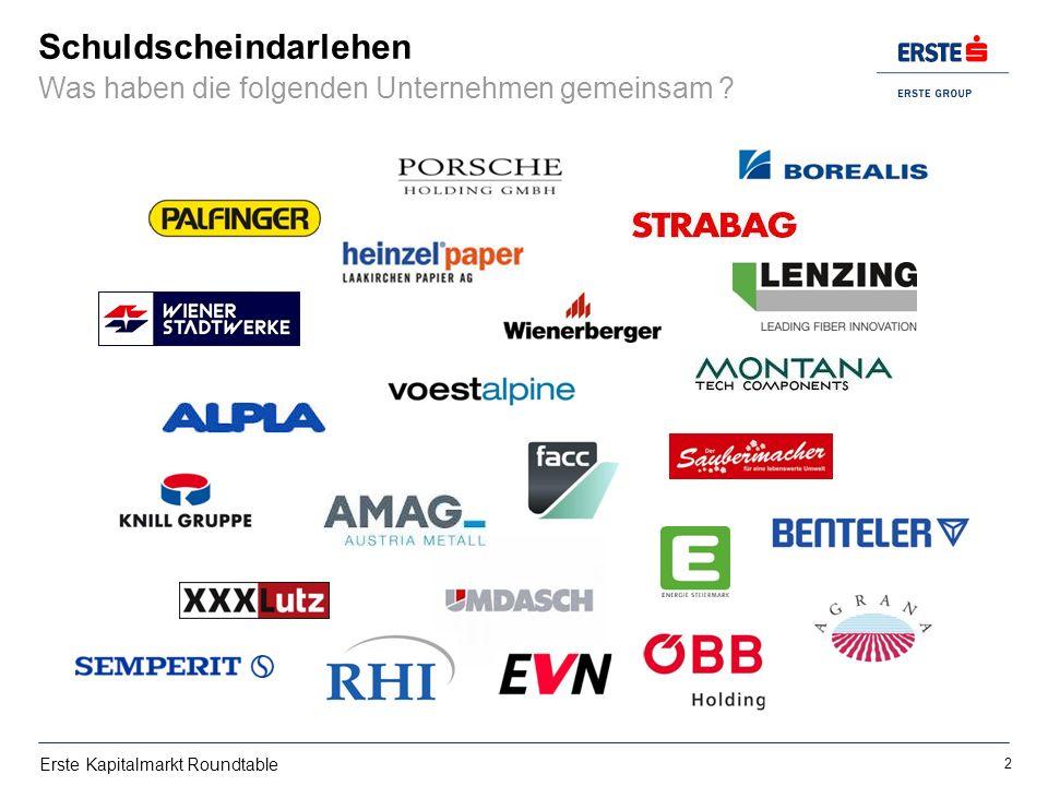 Erste Kapitalmarkt Roundtable Schuldscheindarlehen Was haben die folgenden Unternehmen gemeinsam ? 2