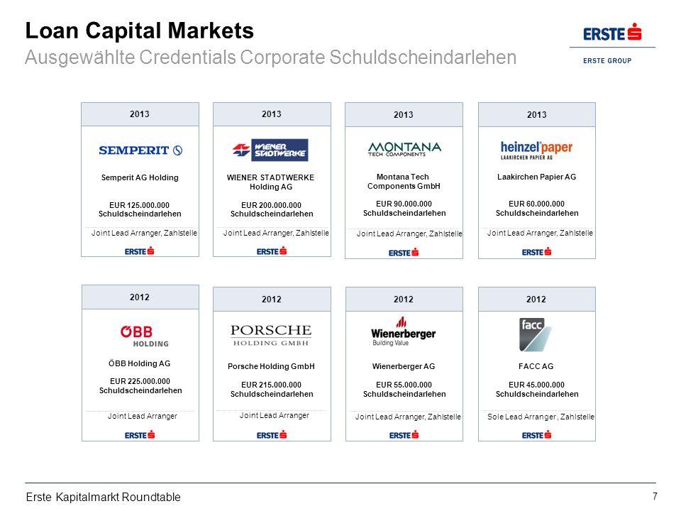 Erste Kapitalmarkt Roundtable Loan Capital Markets Ausgewählte Credentials Corporate Schuldscheindarlehen FACC AG EUR 45.000.000 Schuldscheindarlehen
