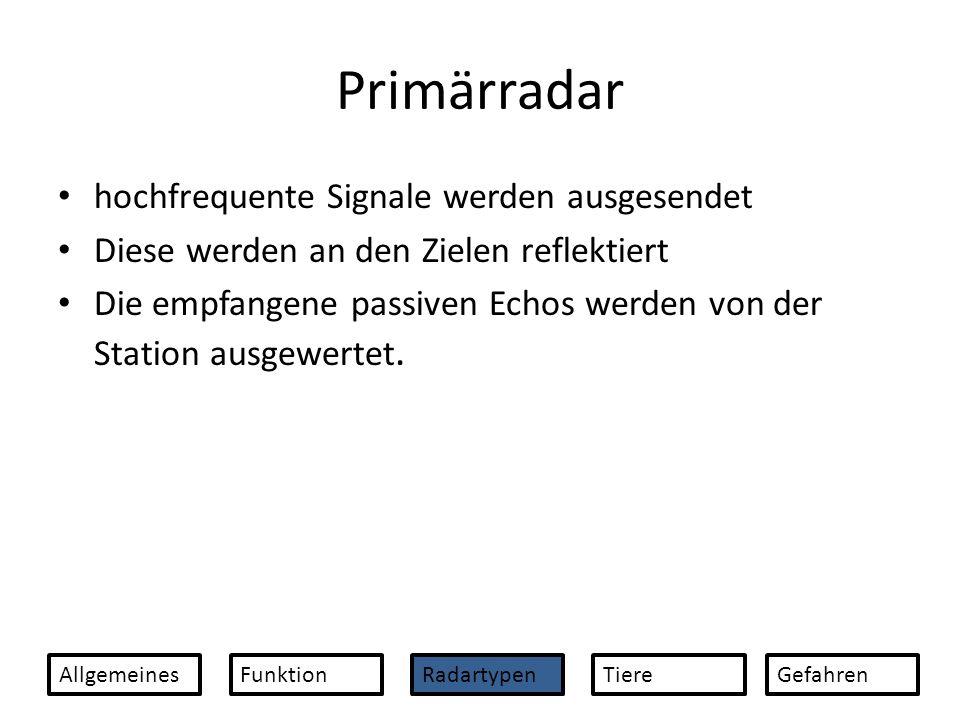 Pulsradar Primärradar Geschwindigkeit, Grösse, Höhe und Entfernung eines Objektes können mit dem Pulsradar ermittelt werden.