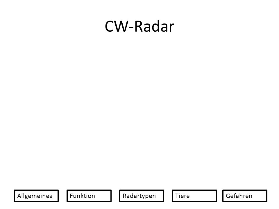 CW-Radar AllgemeinesFunktionRadartypenTiereGefahren