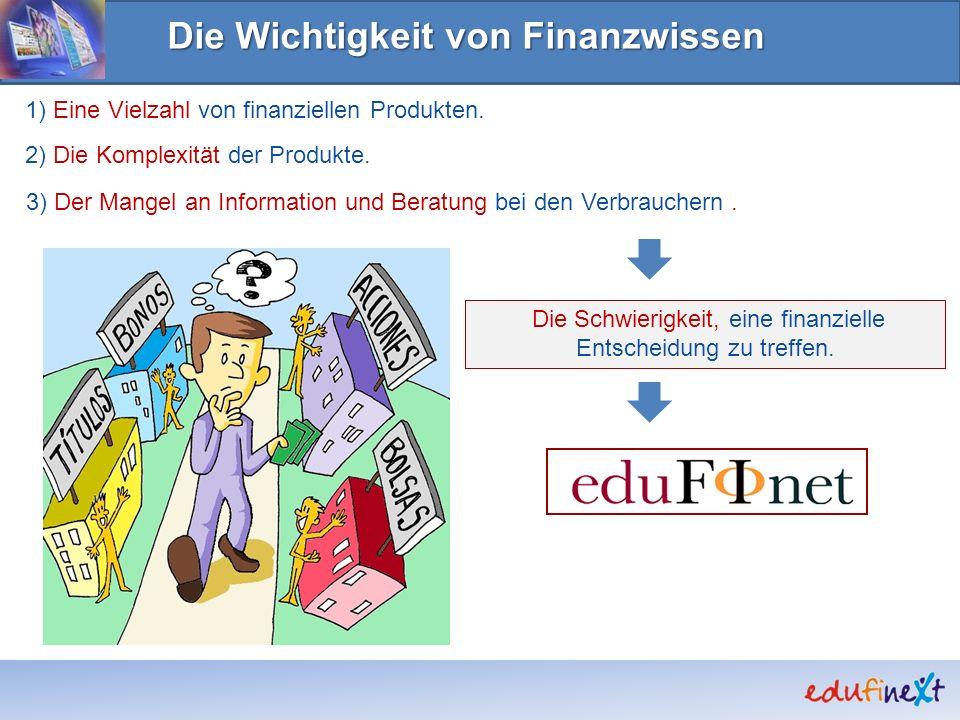 Die Wichtigkeit von Finanzwissen 1) Eine Vielzahl von finanziellen Produkten. 2) Die Komplexität der Produkte. 3) Der Mangel an Information und Beratu