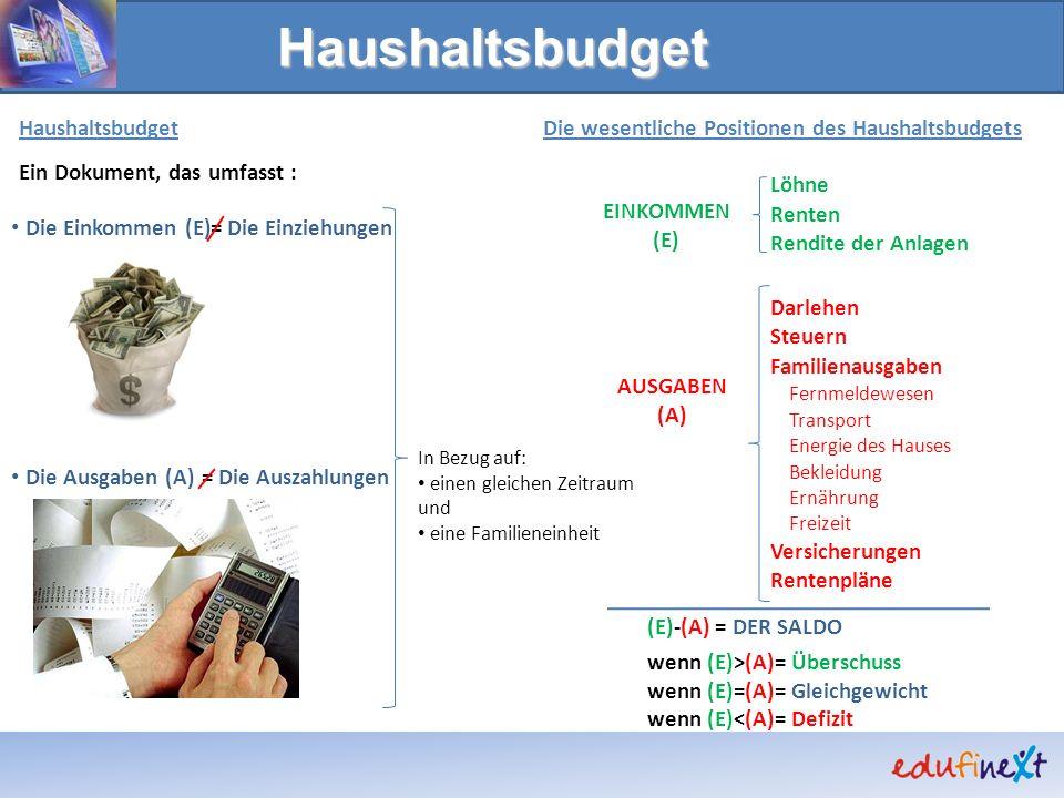 Haushaltsbudget Ein Dokument, das umfasst : Die Einkommen (E)= = Die Einziehungen Die Auszahlungen In Bezug auf: einen gleichen Zeitraum und eine Fami