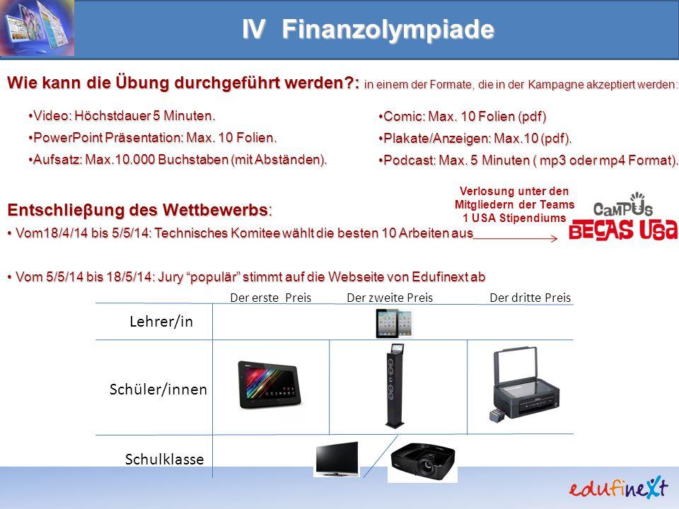 IV Finanzolympiade Der erste PreisDer zweite PreisDer dritte Preis Lehrer/in Schüler/innen Schulklasse Wie kann die Übung durchgeführt werden?: in ein