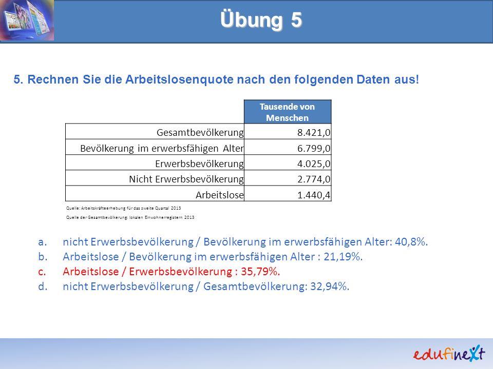 Übung 5 5. Rechnen Sie die Arbeitslosenquote nach den folgenden Daten aus! a.nicht Erwerbsbevölkerung / Bevölkerung im erwerbsfähigen Alter: 40,8%. b.