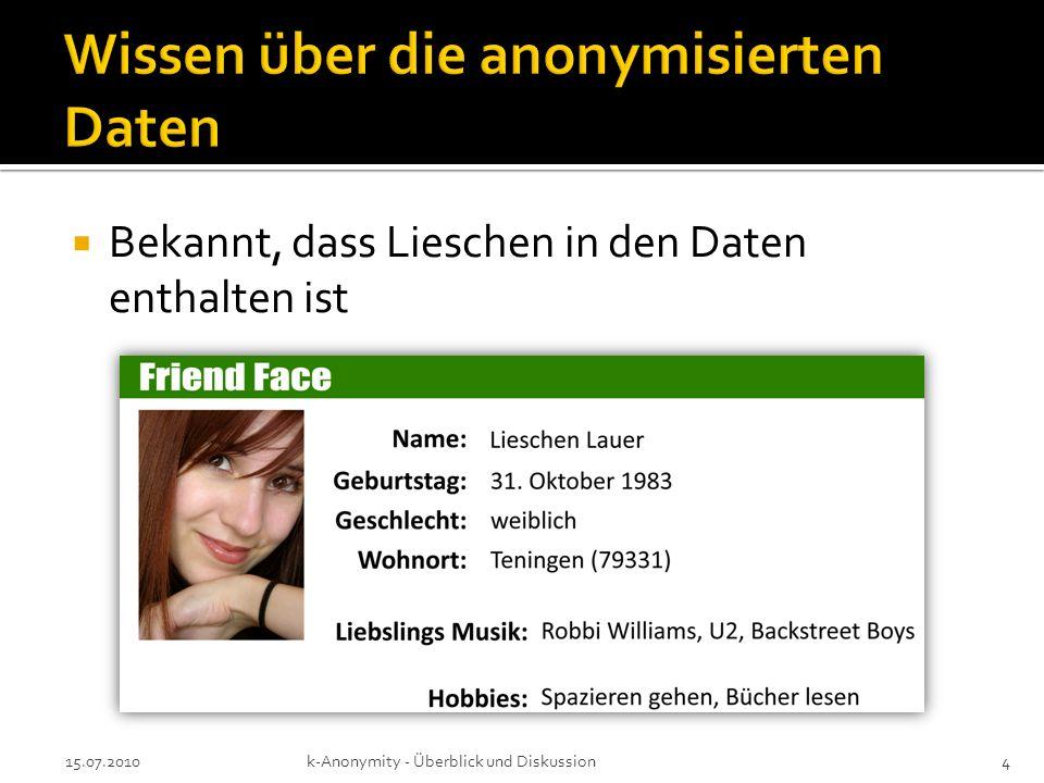 Bekannt, dass Lieschen in den Daten enthalten ist 15.07.2010k-Anonymity - Überblick und Diskussion4
