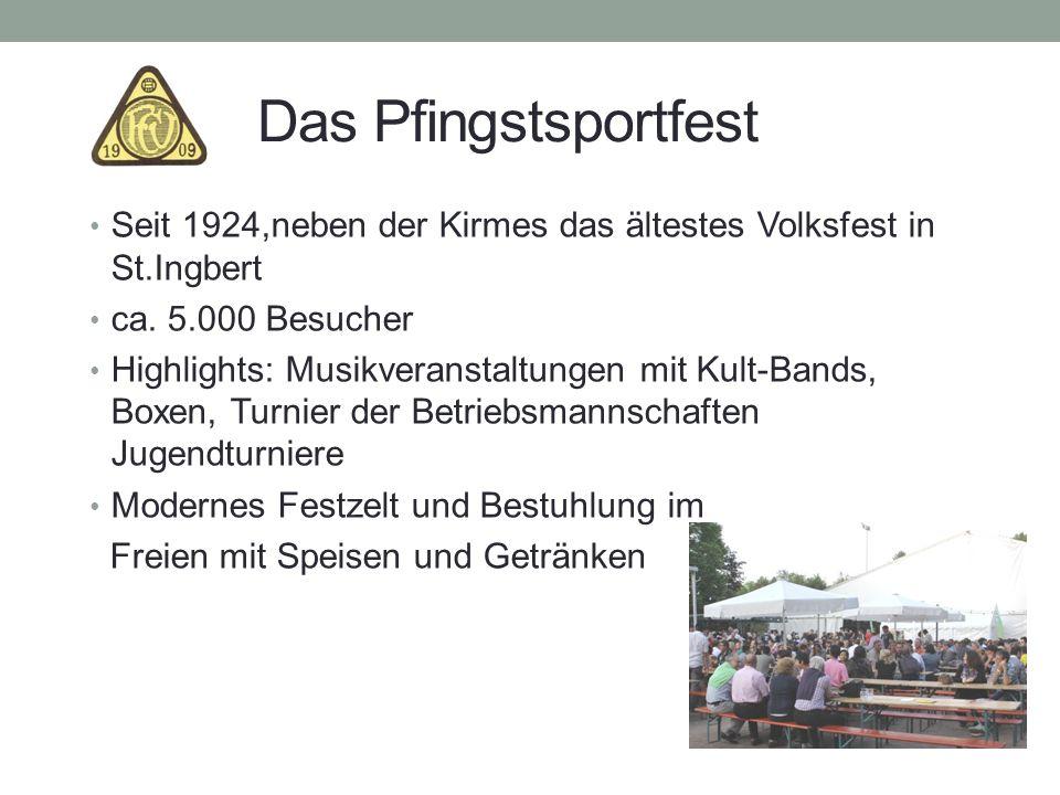 Das Pfingstsportfest Seit 1924,neben der Kirmes das ältestes Volksfest in St.Ingbert ca. 5.000 Besucher Highlights: Musikveranstaltungen mit Kult-Band