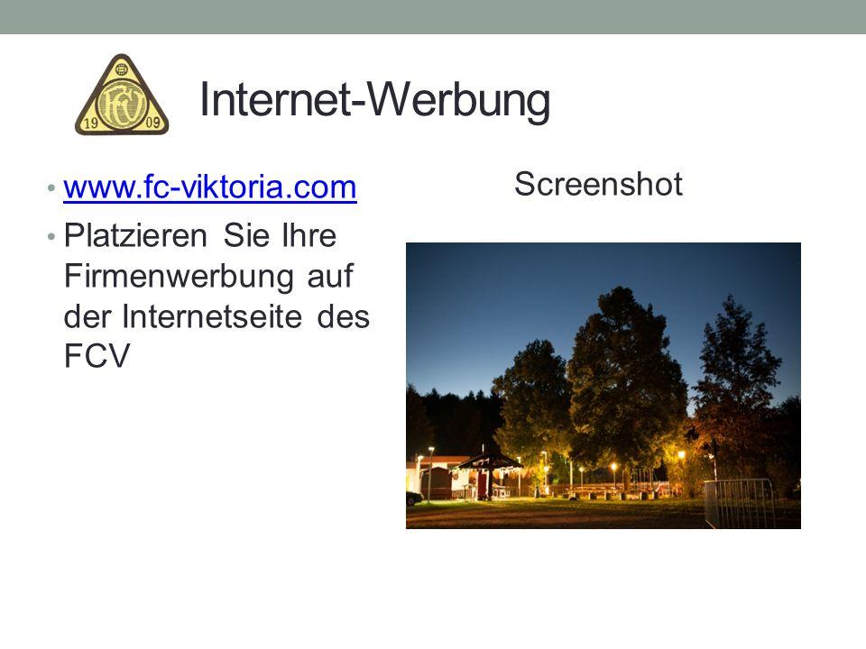 Internet-Werbung www.fc-viktoria.com Platzieren Sie Ihre Firmenwerbung auf der Internetseite des FCV Screenshot
