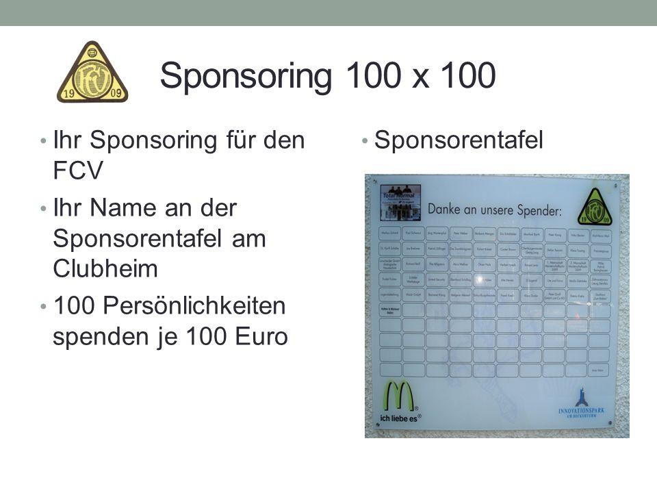 Sponsoring 100 x 100 Ihr Sponsoring für den FCV Ihr Name an der Sponsorentafel am Clubheim 100 Persönlichkeiten spenden je 100 Euro Sponsorentafel