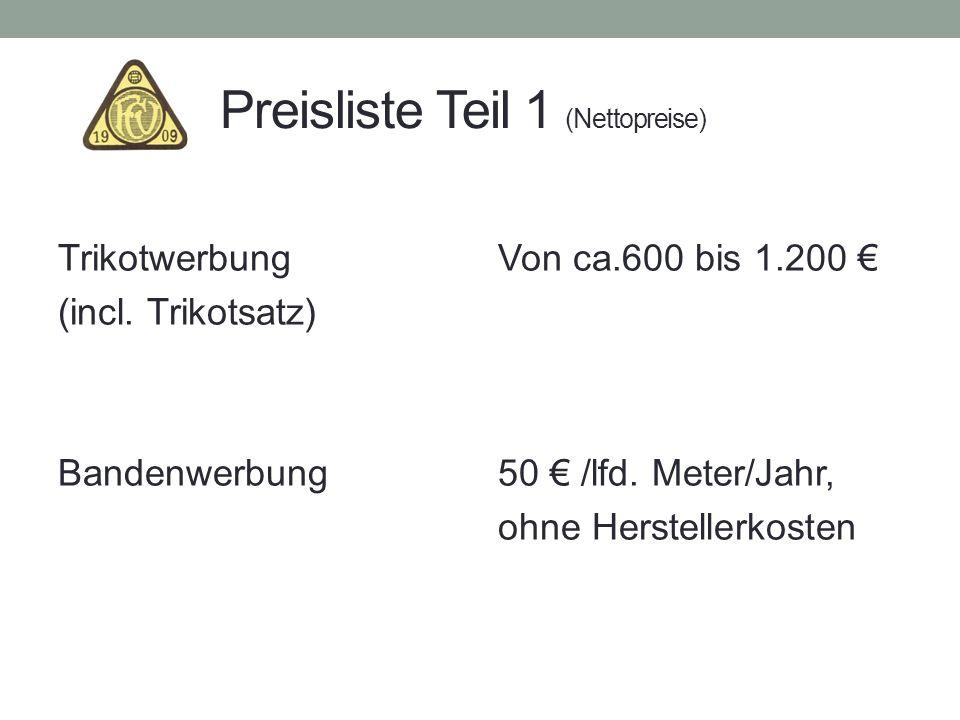 Preisliste Teil 1 (Nettopreise) Trikotwerbung (incl. Trikotsatz) Bandenwerbung Von ca.600 bis 1.200 50 /lfd. Meter/Jahr, ohne Herstellerkosten