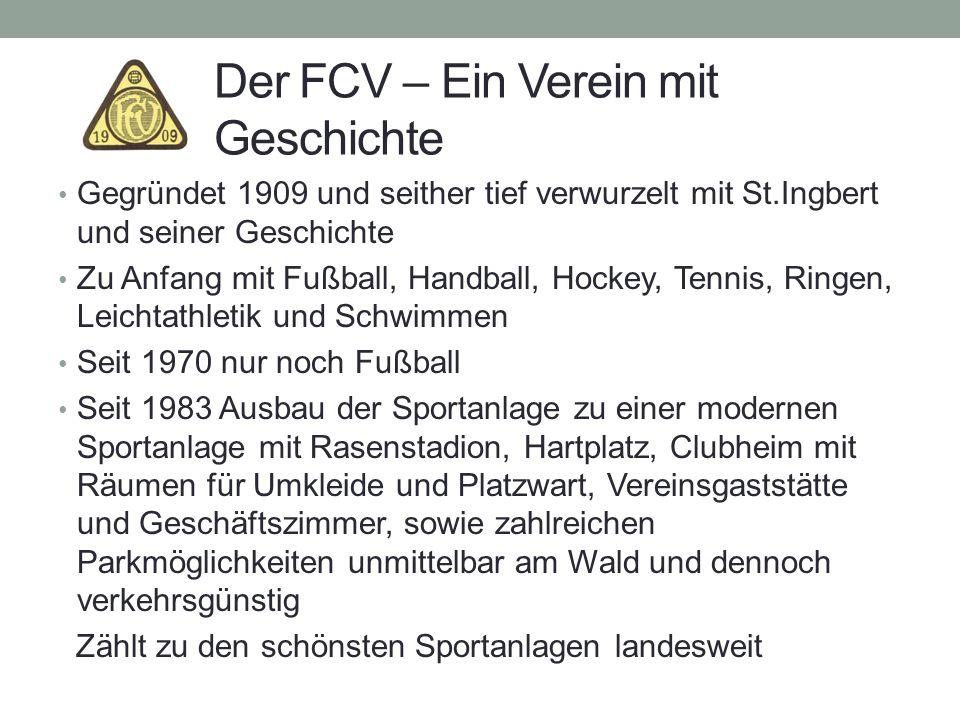 Der FCV – Ein Verein mit Geschichte Gegründet 1909 und seither tief verwurzelt mit St.Ingbert und seiner Geschichte Zu Anfang mit Fußball, Handball, H