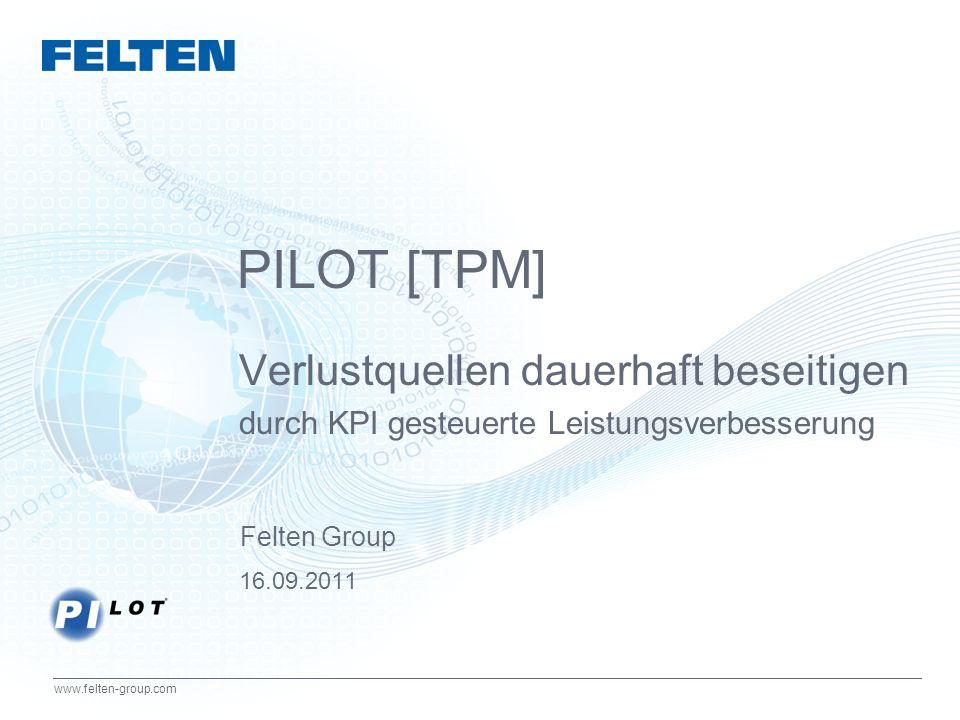 12 www.felten-group.com Linie 1: Gutteile Schlechtteile Q = Gutteile / Gesamtmenge Linie 2: Gesamtmenge Schlechtteile Linie 3: Gesamtmenge Gutteile