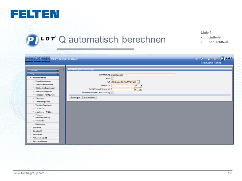 19 www.felten-group.com Linie 1: Gutteile Schlechtteile Q automatisch berechnen